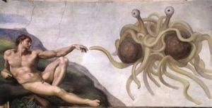 Touched by His Noodly Appendage spiller på Michelangelos Skapelsen av Adam. Ikonet for Kirken Den Flygende spaghettimonster er laget av Arne Niklas Jansson.