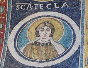 Thekla av Ikonium (fra Basilica Eufrasiana i Poreč, Kroatia. Mosaikk fra siste halvdel av 500 tallet.)